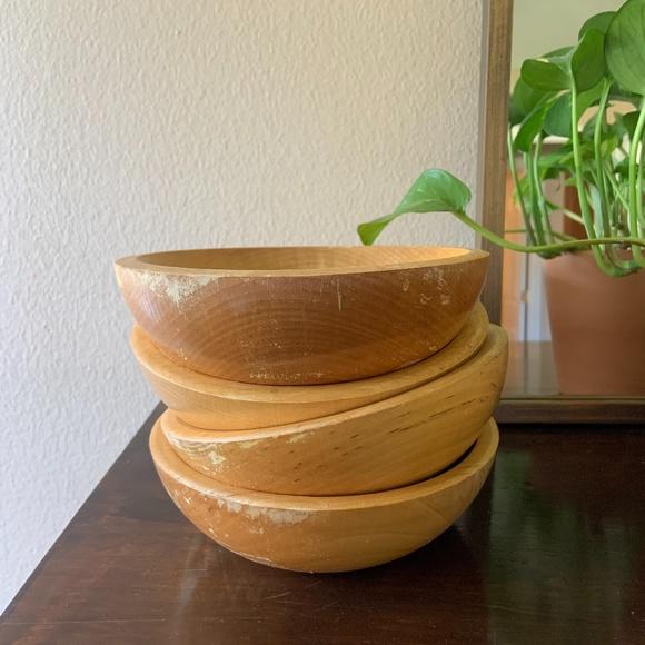 Vintage Distressed Wooden Bowl Set of 4